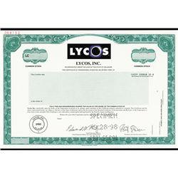 Lycos, Inc. 1998 Specimen Stock Certificate.