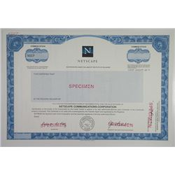 Netscape Communications Corp., 1994 Specimen Stock Certificate of this Internet Pioneer.