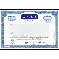 CDNOW Specimen Stock Certificate.