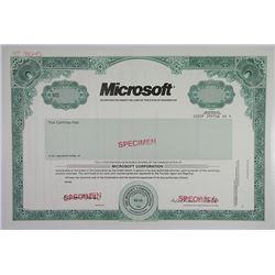 Microsoft 1993 Specimen Stock Certificate With Facsimile William H. Gates Signature.