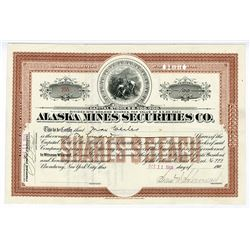 Alaska Mines Securities Co., 1906 Partially Issued Stock Certificate.