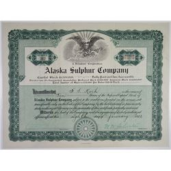 Alaska Sulphur Co., 1921 I/U Stock Certificate