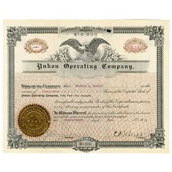 Yukon Operating Co., 1911 Issued Stock Certificate.