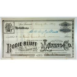 Bodie Bluff Consolidated Gold Mining Co., 1979 I/U Stock Certificate
