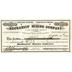 "Mechanics' Mining Co., 1877 ""Sutter Creek"" I/U Stock Certificate."
