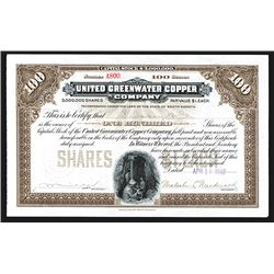 United Greenwater Copper Co., 1907 I/U Stock Certificate