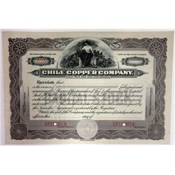 Chile Copper Co. 1910-20 Specimen Stock Certificate.