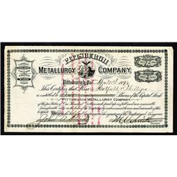 Pittsburgh Metallurgy Co., 1893 I/U Stock Certificate.