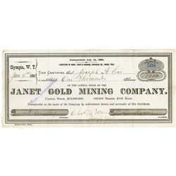 Janet Gold Mining Co., 1883 Stock Certificate.