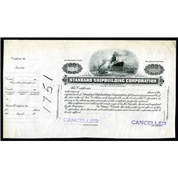 Standard Shipbuilding Corp., ND ca.1900 Progress Proof Stock Certificate.