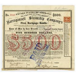 Narragansett Steamship Co., 1869 I/C Bond Signed by Ambrose Burnside, Civil War General.