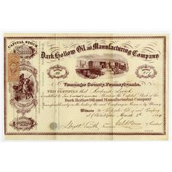 Dark Hollow Oil and Manufacturing Co., 1864 I/U Stock Certificate.