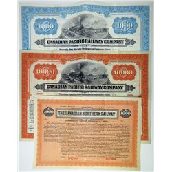 Canadian Pacific Railway Co., ca.1900-1920 Trio of Specimen Bonds