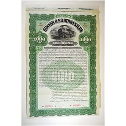 Denver and Southwestern Railway Co., 1899 Specimen Bond.