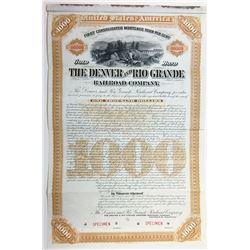 Denver and Rio Grande Railroad Co., 1886 Specimen Bond