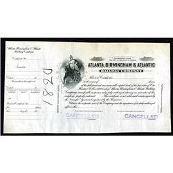 Atlanta, Birmingham & Atlantic Railway Co. GA.  (ca.1910-20's), Progress Proof Stock Certificate