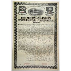 Macon and Indian Spring Electric Street Railway Co., 1894 Specimen Bond.
