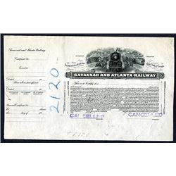 Savannah & Atlanta Railway. GA. 19xx (ca.1910-20's), Progress Proof Stock Certificate