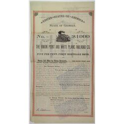 Union Point and White Plains Railroad Co., 1889 Issued and Partially Redeemed bond.