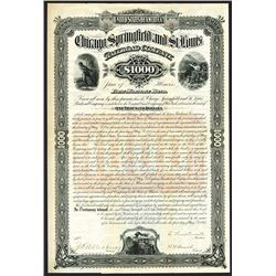 Chicago, Springfield and St. Louis Railroad Co., 1883 I/U Bond.