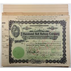Grouping of 14 Hammond Belt Railway Company 1917 Shares