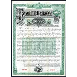 Pacific Railway Co., 1889, $1000 Specimen Bond.
