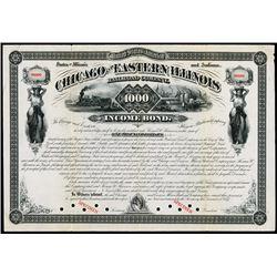Chicago and Eastern Illinois Railroad Co. 1877 Specimen Bond.