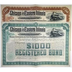 Chicago and Eastern Illinois Railroad Co., 1887 Pair of Specimen Bonds