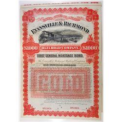 Evansville & Richmond Rail Road Co. 1891 Specimen Bond.