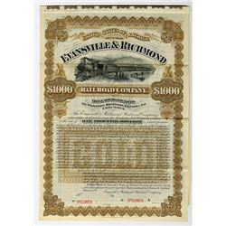 Evansville & Richmond Railroad Co. Western Division - Elnora to Columbus, 1888 Specimen Bond