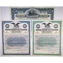 Indiana Harbor Belt Railroad Co., 1907 & 1920 Specimen Bond Trio