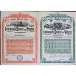 Indianapolis, Decatur & Western Railway Co., 1888 Specimen Bond Pair