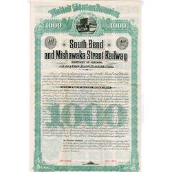 South Bend & Mishawaka Street Railway Co., 1885, $1000 Specimen Bond