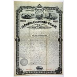 Atchison, Colorado and Pacific Railroad Co., 1879 Unique Specimen Bond.