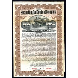 Kansas City, Fort Scott and Memphis Railway Co., 1901 Specimen Bond