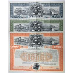 Atchison, Topeka and Santa Fe Railway Co., 1895 Trio of Specimen Bond