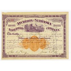 Atchison and Nebraska Railroad Co. 1872 I/C Stock Certificate with U.S. Imprinted Revenue.