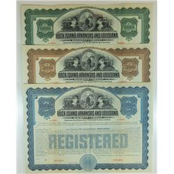Rock Island, Arkansas and Louisiana Railroad Co., 1910 Specimen Registered Bond Trio.