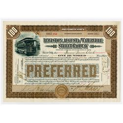 Lewison, Augusta and Waterville Street Railway, 1910 Issued Stock Certificate