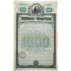 Baltimore & Drum Point Railroad Co. 1888 Bond