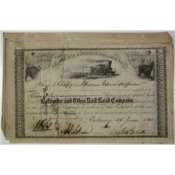 Baltimore and Ohio Rail-Road Co., 1860 I/C Stock Certificate Group.