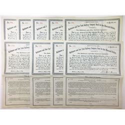 Group of 9 Baltimore and New York Railway Company $1000 Bond, 1889