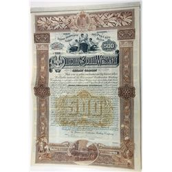 Winona and Southwestern Railway Co., 1888 I/U Gold Coupon Bond.