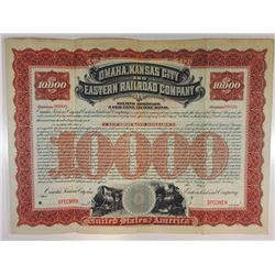 Omaha, Kansas City and Eastern Railroad Co., 1897 Specimen Bond.