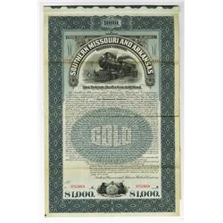 Southern Missouri and Arkansas Railroad Co.,  1899 Specimen Bond Rarity.