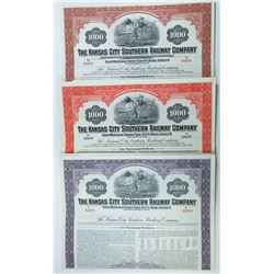 Kansas City Southern Railway Co., 1945-1954 Trio of Specimen Bond