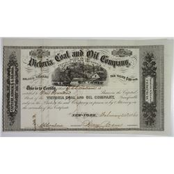 Victoria Coal and Oil Co., 1860 Stock I/U Certificate.