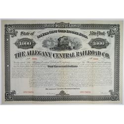 Allegany Central Railroad Co., 1881 Specimen Bond Rarity.