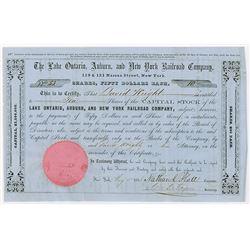 Lake Ontario, Auburn, and New York Railroad Co., 1856 Issued Stock Certificate