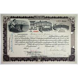 Manhattan Transit Co., 1913 I/U Stock Certificate